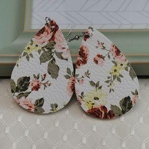 Peach Floral Leather Teardrop Earrings